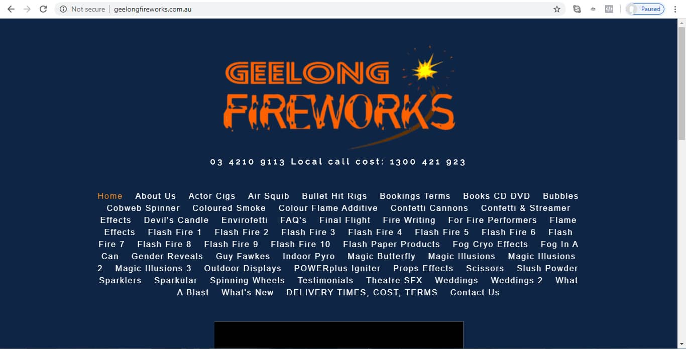 Geelong Fireworks - Website Before Screenshot