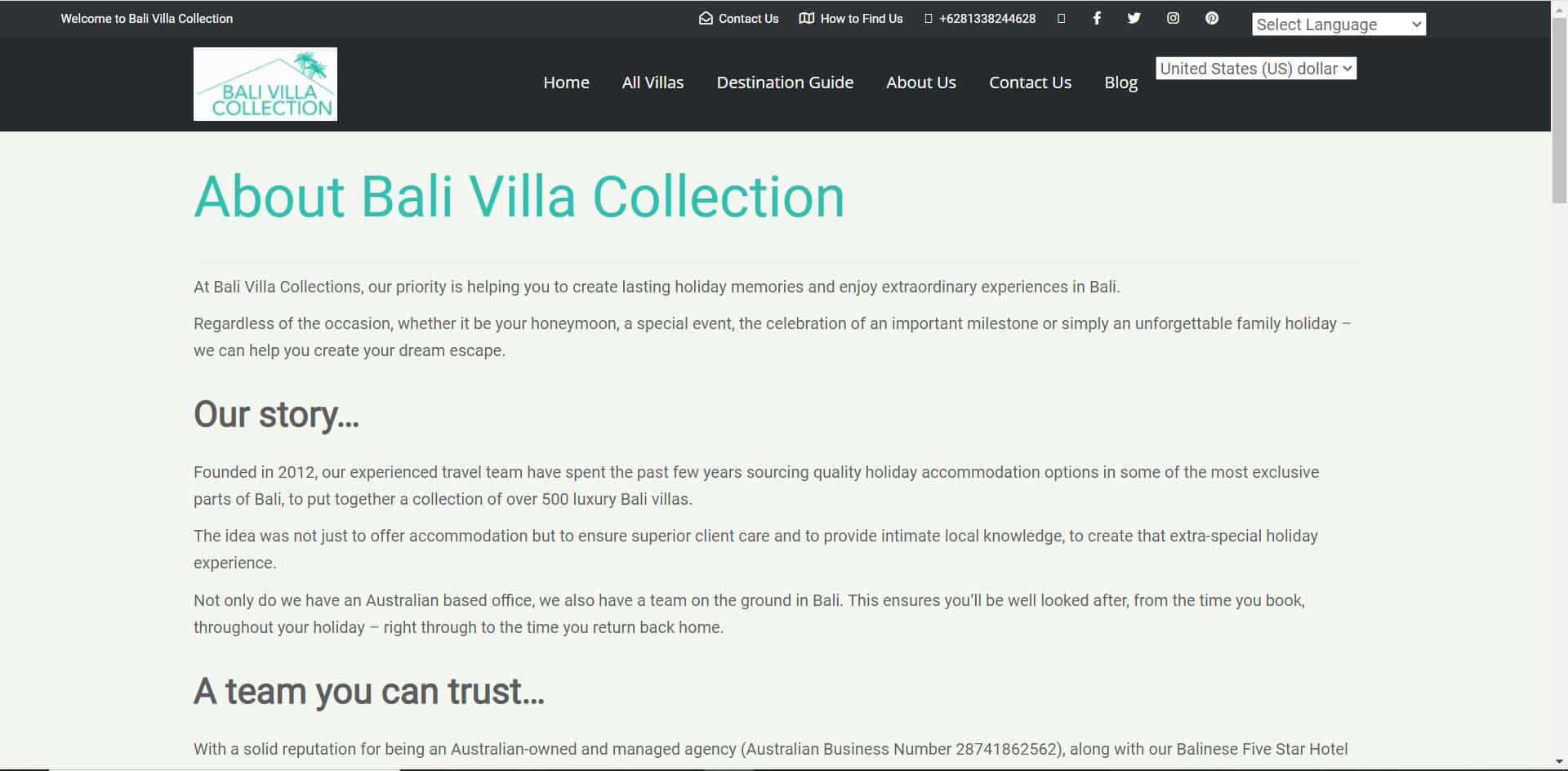 Bali Villa Collection - About Page
