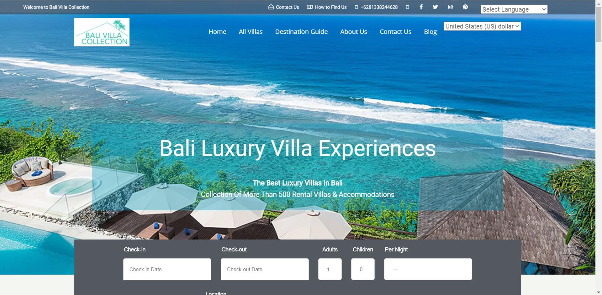 Bali Villa Collection - Home Page Banner