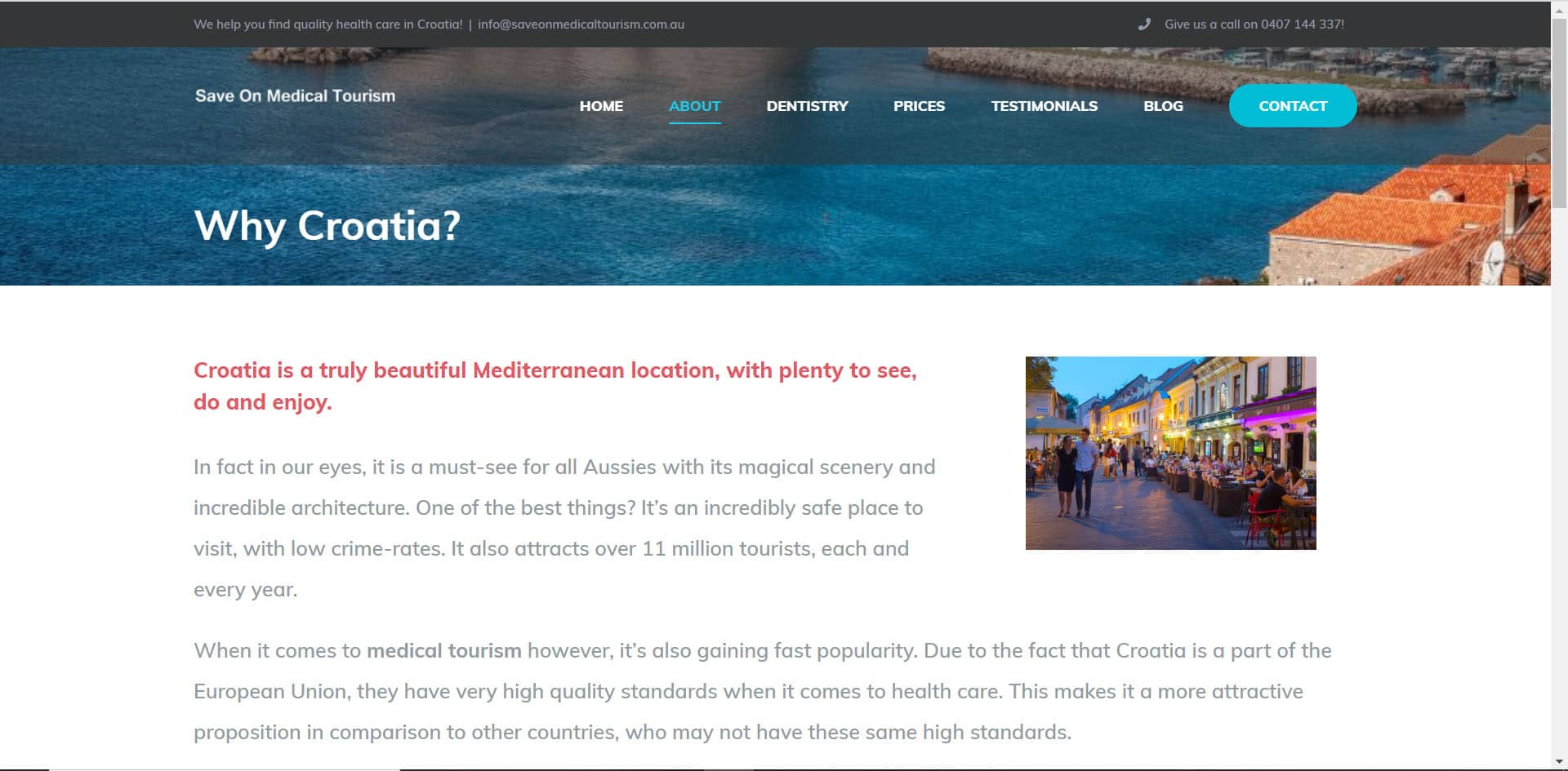 Save on Medical Tourism - Why Croatia (Website Copywriting)