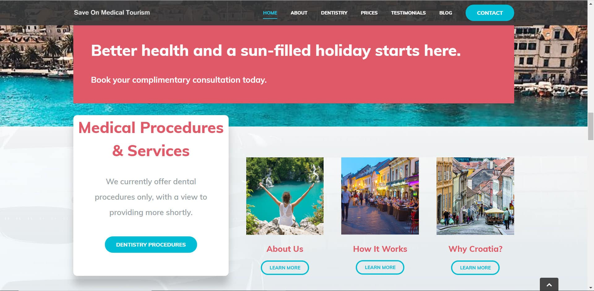 Save on Medical Tourism Home Page (Website Build & Copywriting Example)