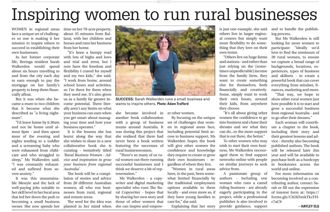 Rural Womens Business Book- Ballarat Courier
