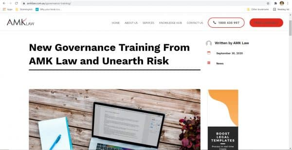AMK Law - Governance Training Blog Copywriting