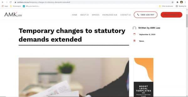 AMK Law - Statutory Demands Blog Copywriting
